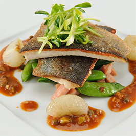 Rainbow Trout, Snap Peas and Smoked Ham, with Maker's Mark® Sauce Charcuterie