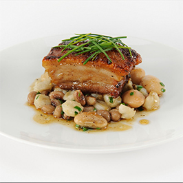 Maker's Mark® Candied Pork Belly with Succotash Fricassee