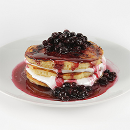 Maker's Mark® Morning After Sugar Crusted Marshmallow Pancake Stack with Bourbon Blueberry Compote and Naughty Syrup